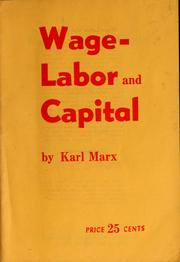 Cover of: Wage-labor and capital by Karl Marx