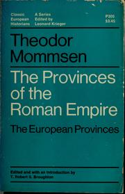 The provinces of the Roman Empire by Theodor Mommsen
