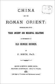 China and the Roman Orient by Friedrich Hirth