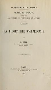 La biographie d&#39;Empdocle by Joseph Bidez