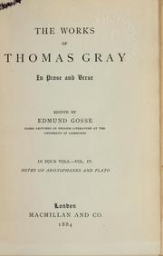 The works of Thomas Gray in prose and verse by Gray, Thomas