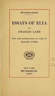 Cover of: Essays of Elia by Charles Lamb