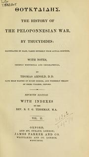 Cover of: The history of the Peloponnesian War by Thucydides