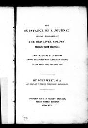 The substance of a journal during a residence at the Red River Colony, British North America PDF