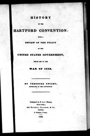 History of the Hartford Convention by Dwight, Theodore