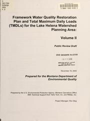 Framework water quality restoration plan and total maximum daily loads (TMDLs) for the Lake Helena watershed planning area PDF