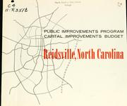 Public improvements program, capital improvements budget, Reidsville, North Carolina by Donald Wayne Bradley