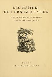 Cover of: Le style Louis XV by Peter Jessen