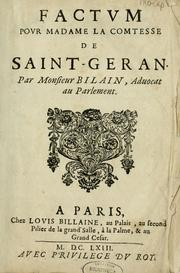 Factum pour madame la comtese de Saint-Gran by Antoine Bilain