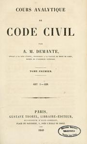 Cours analytique de Code civil by Antoine Marie Demante