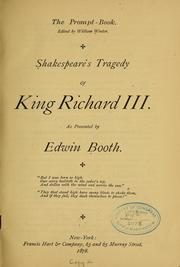 Cover of: Shakespeare's Tragedy of King Richard III by William Shakespeare