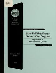 State Building Energy Conservation Program, Department of Environmental Quality by Montana. Legislature. Legislative Audit Division