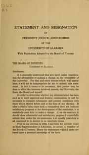 Statement and resignation of President John W. Abercrombie of the University of Alabama ... PDF