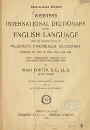 Cover of: Webster's international dictionary of the English language by Porter, Noah