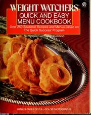 Weight Watchers quick and easy menu cookbook PDF