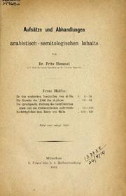 Aufstze und Abhandlungen arabistisch-semitologischen Inhalts by Fritz Hommel