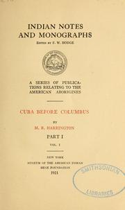 Cuba before Columbus by Harrington, M. R.