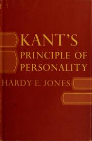 Cover of: Kant's principle of personality by Hardy E. Jones