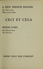 Ceci et cela by Hlne Gobel