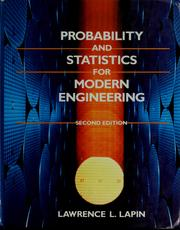 Cover of: Probability and statistics for modern engineering | Lawrence L. Lapin