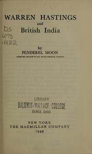 Warren Hastings and British India by Moon, Penderel