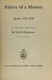 Failure of a mission by Henderson, Nevile Sir