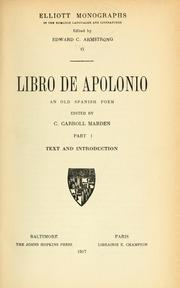 Cover of: Libro de Apolonio by C. Carroll Marden