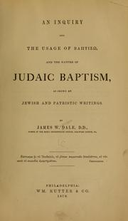 An inquiry into the usage of babtizō and the nature of Judaic baptism