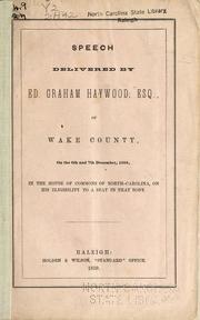 Speech of Ed. Graham Haywood, Esq., of Wake County PDF