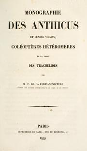 Monographie des Anthicus et genres voisins PDF