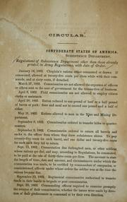 Regulations of Subsistence Department other than those already printed in army regulations, with date of order [January 14, 1862-September 7, 1863] PDF