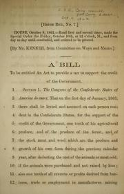 A bill to be entitled An act to provide a tax to support the credit of the government
