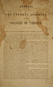Address of the General Assembly to the soldiers of Virginia PDF