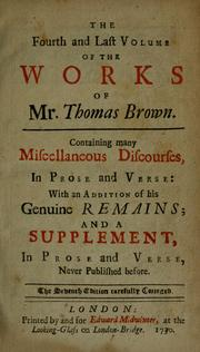 The works of Mr. Thomas Brown, serious and comical PDF