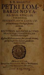Sententiarum libri IV by Peter Lombard Bishop of Paris