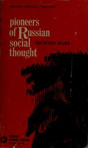 Pioneers of Russian social thought by Richard Hare