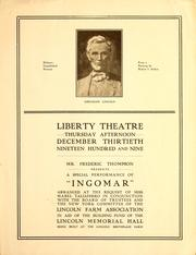 Liberty theatre, Thursday afternoon December thirtieth, nineteen hundred and nine by Lincoln Farm Association, New York Committee
