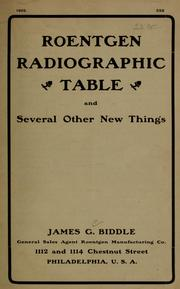 Roentgen radiographic table and several other new things PDF