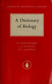 A dictionary of biology by M. Abercrombie
