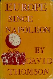 Europe since Napoleon by Thomson, David
