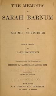 The memoirs of Sarah Barnum by Marie Colombier