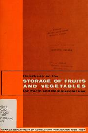 Handbook on the storage of fruits and vegetables for farm and commercial use PDF