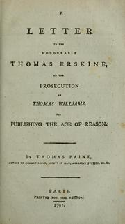 A letter to the Honourable Thomas Erskine by Thomas Paine