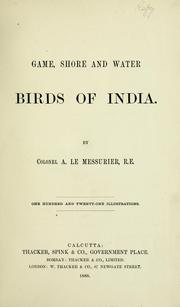 Game, shore, and water birds of India PDF