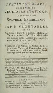 Statical essays by Stephen Hales