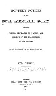 Cover of: Monthly Notices of the Royal Astronomical Society by Royal Astronomical Society