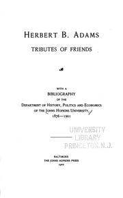 Cover of: Herbert B. Adams: Tributes of Friends by Johns Hopkins University