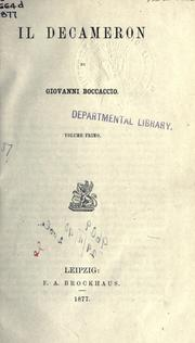 Cover of: Il Decameron by Giovanni Boccaccio
