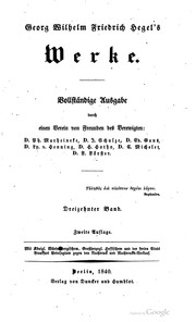 Georg Wilhelm Friedrich Hegel&#39;s Werke by Georg Wilhelm Friedrich Hegel