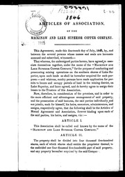 Articles of association of the Mackinaw and Lake Superior Copper Company by Mackinaw and Lake Superior Copper Company